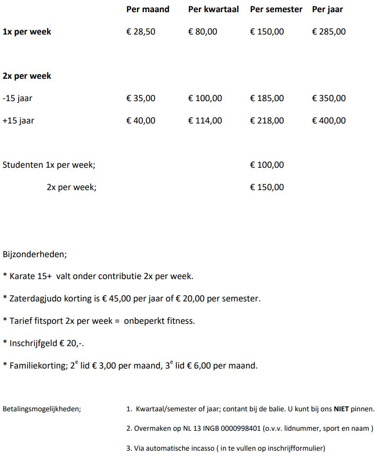 abonnementen vanaf 1 oktober 2021 Sportschool de Leeuw Leeuwarden